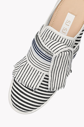 Stripe bow slip on mules