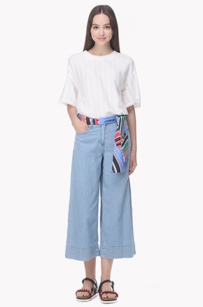 [20th] Scarf belted wide leg jeans