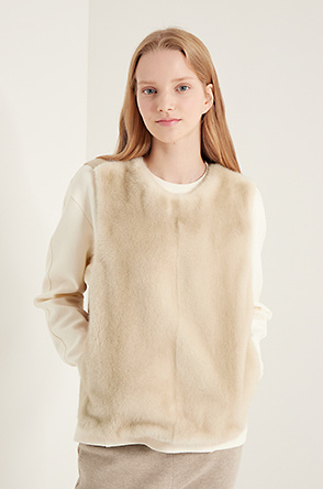 Knit block mink fur top
