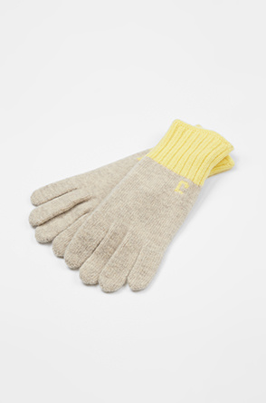 Lettering knit gloves
