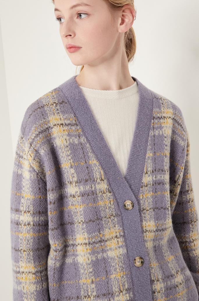Check knit cardigan