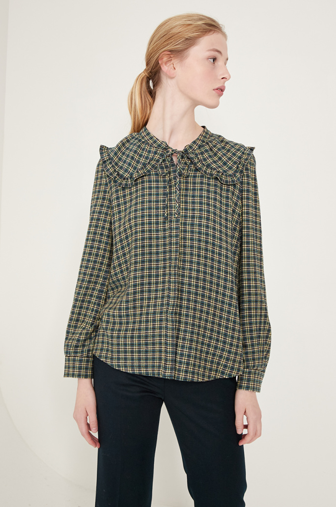Sailor collar check blouse