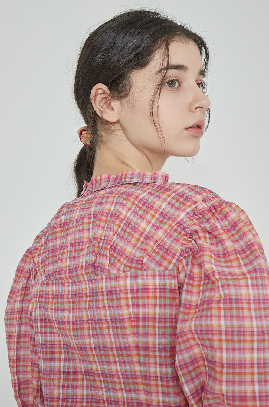 Puff sleeve check blouse