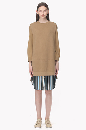 Stripe shirt layered wool knit dress