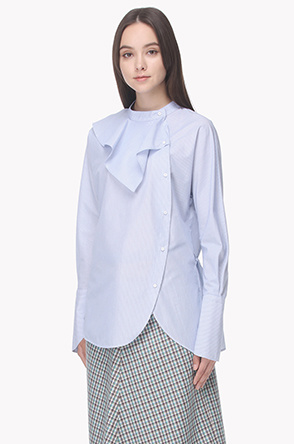 Ruffle stand collar shirt