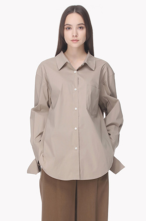 Strap cuffs back pleat line shirt