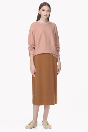 Slit button wool knit skirt