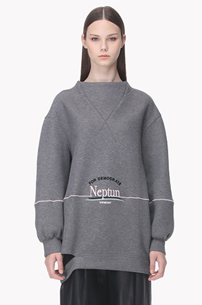 Back crossover neck embroidery sweatshirt