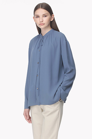 Drawstring shirring neck blouse