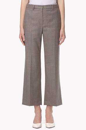 Wool blend gingham check pants