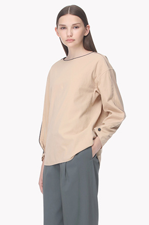 Pleat sleeves rough textured blouse