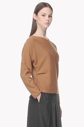 Dolman sleeve front placket knit sweater