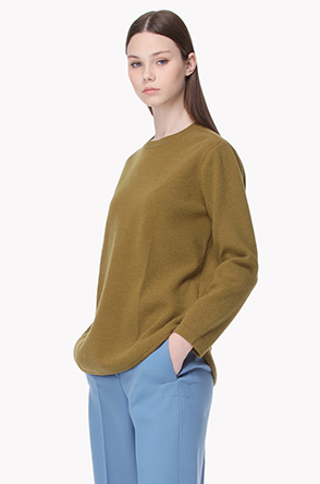Lambswool blend shoulder placket knit sweater