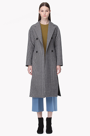 Wool blend houndstooth check coat