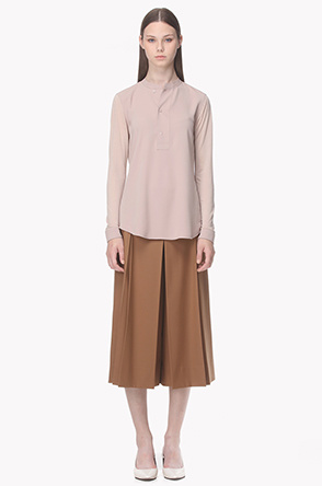 Pleat and tuck wool culottes