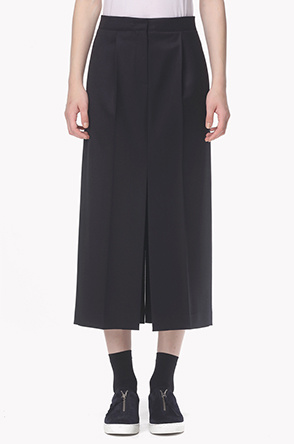 Wool blend long slit skirt