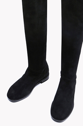 Lamb suede thigh high boots