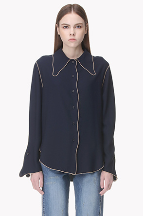 Color piping line blouse