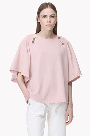 Wide sleeve boat neck top