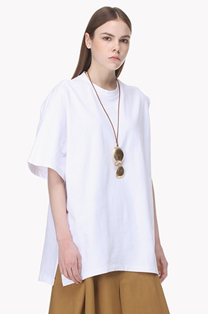 [SYSTEM2] Oversized one sleeve cotton T shirt