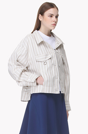 Striped high low shirt jacket
