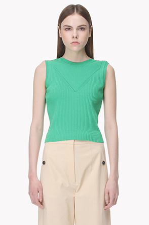 [SYSTEM2] Sleeveless crop knit top