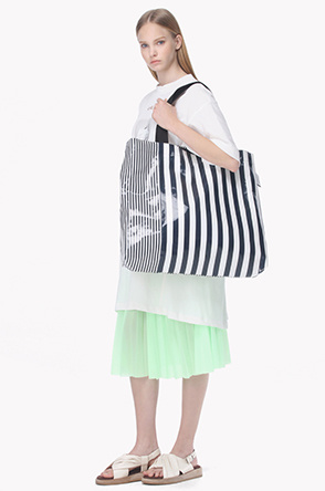 [SYSTEM2] Striped large tote bag