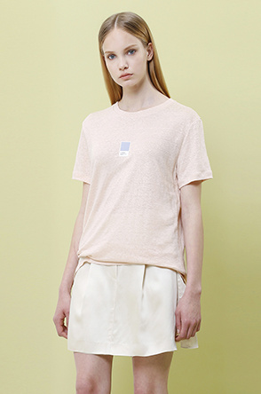 [SYSTEM2] Color chip printed linen T shirt