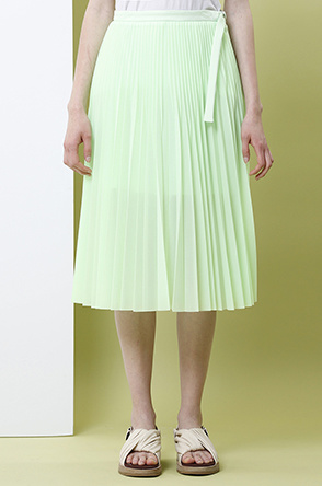 [SYSTEM2] Side belted pleat skirt