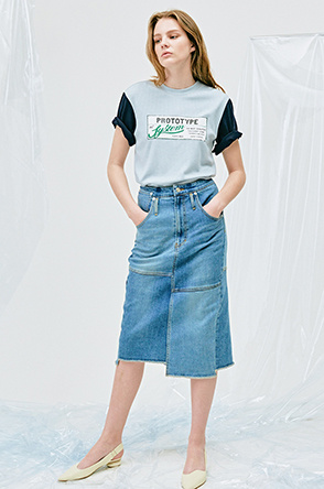 [SYSTEM2] 90'S HIGH WAIST MY SELF JEAN SKIRT