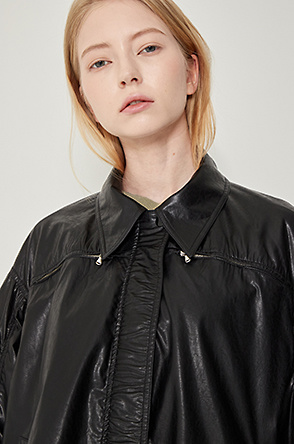 Drawstring leather jumper