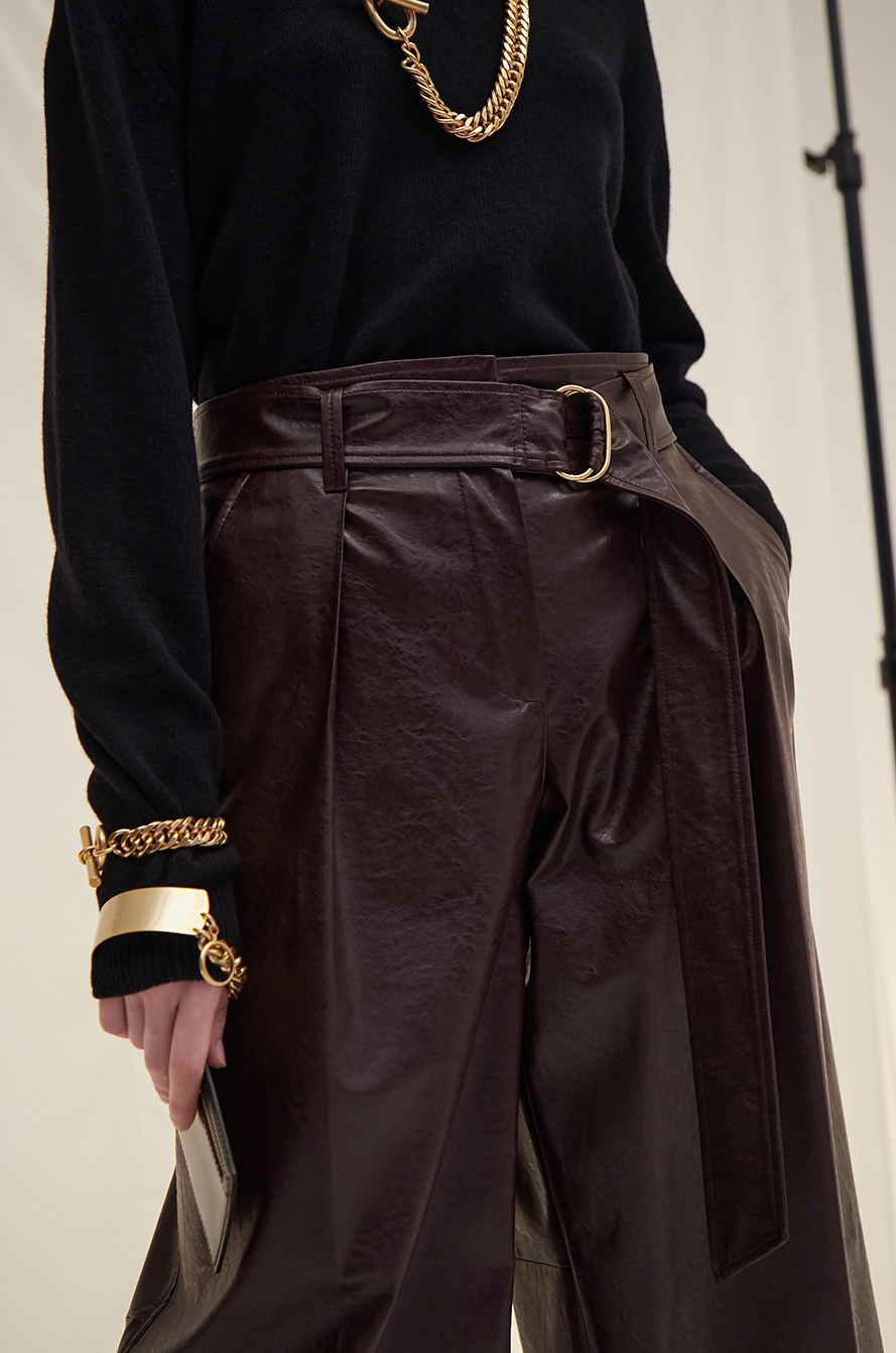belted leather shorts