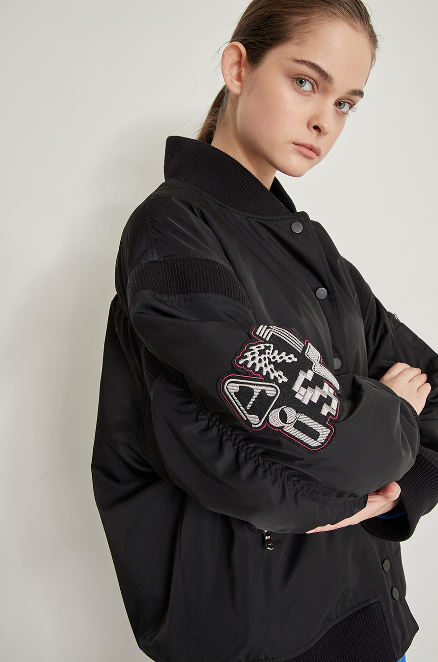 [BTS │ SYSTEM] Boucle & embroidery patch blouson