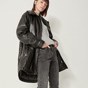 Goose down leather jumper