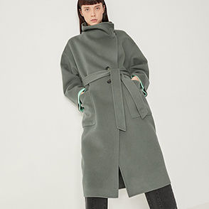Two-way collar belted coat