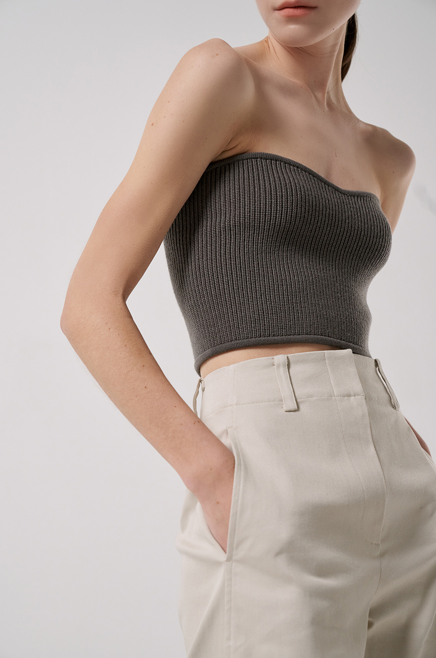 strapless knit top