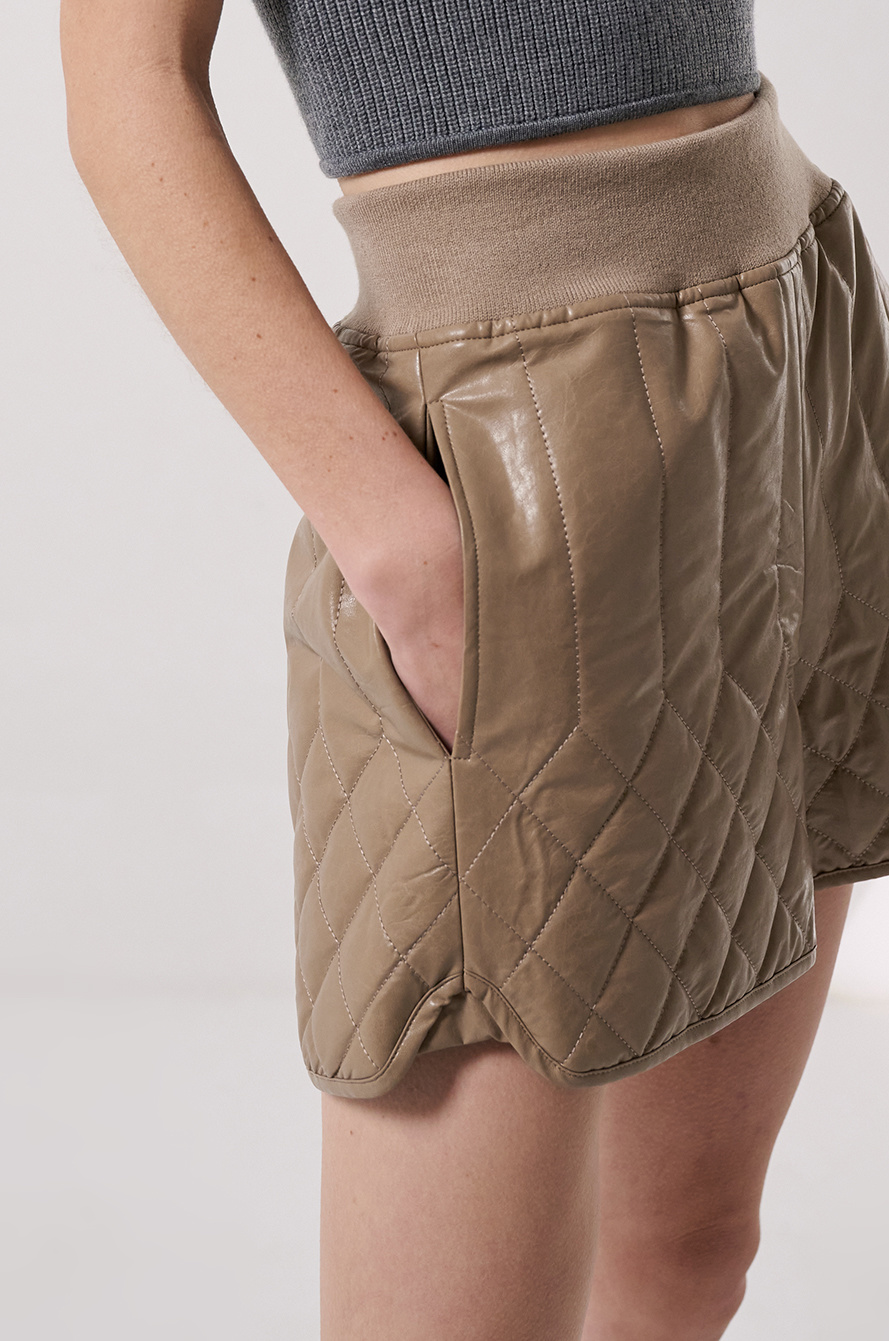 leather quilted shorts