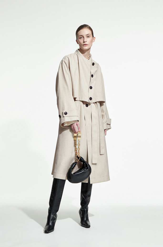 Belted layer trench coat