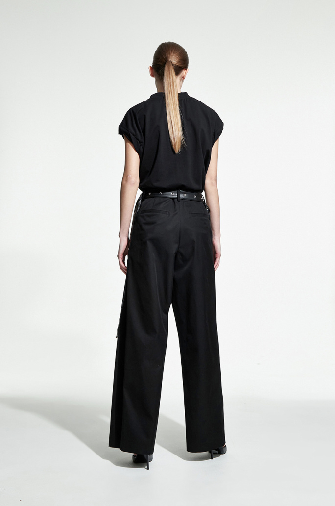 Leather strap tuck pants