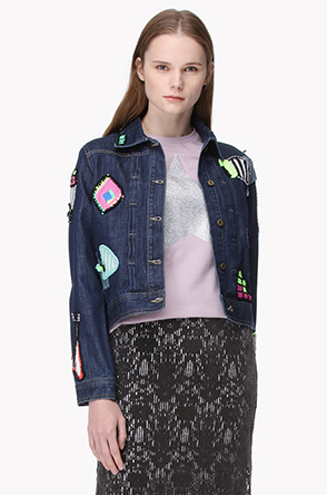 [MICHAELA BUERGER] Knit applique denim jacket
