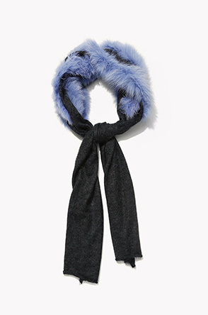 [CHARLOTTE SIMONE] Fox fur four color line muffler