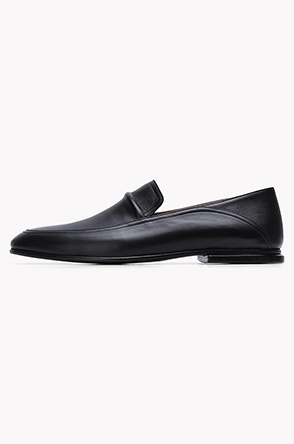 Folded leather plain loafers
