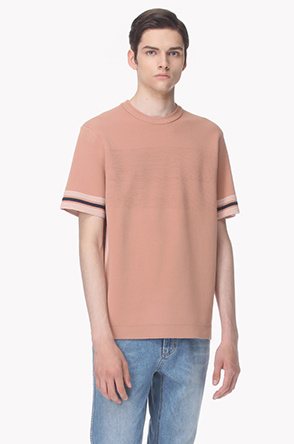 Color line knit T shirt