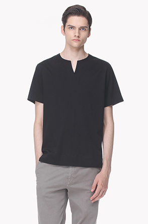 Split line notch neck T shirt