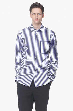 Frame pocket stripe shirt