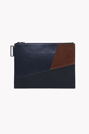 Patchwork leather clutch bag