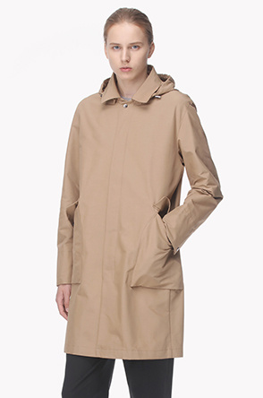 Front placket snap button trench coat