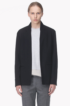 Jetted pocket cotton blend jacket