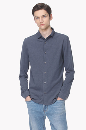 Button front pique shirt