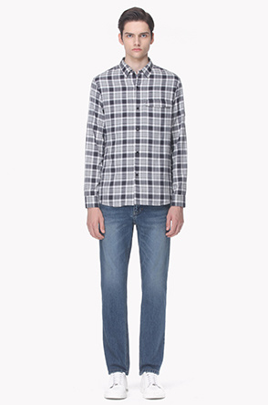 Flap pocket check shirt